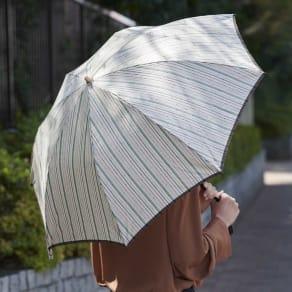 【お名前オーダー】小宮商店 甲州織晴雨兼用折畳日傘 ストライプ 写真