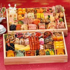 【特典付き】ふく吉 お集まりおせち「祭り膳」 和洋2段重(約6~8人前) 全60品