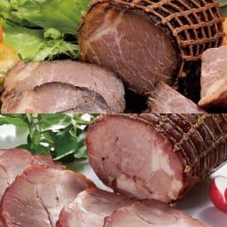 トンデンファーム 炭火焼 焼牛と焼豚セット 【盛り付け例】