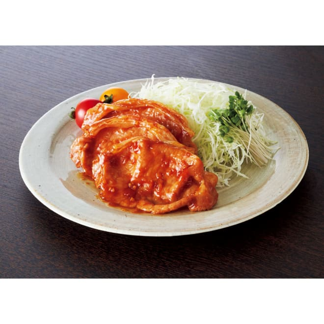 おろし生姜の醤油ダレ薄切り豚ロース 300g(8枚入)×5袋 盛り付け例