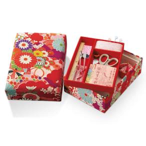 〈みすや忠兵衛〉裁縫箱(赤の着物柄) 写真