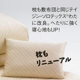 敷布団ダブル4点 (綿生地のダニゼロック お得な布団セット) 【枕】 テイジン・ソロテックス(R)のわたをプラスし、へたりにくく寝心地も大幅UP!ふんわりしながらもしっかり頭を支えてくれます。