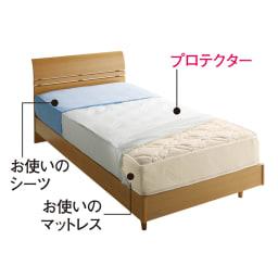 シングル(ミクロガード(R)防ダニ用寝具プロテクター マットレス用) 上からお使いのシーツ、プロテクター、お使いのマットレス。これ1枚でマットレスをダニから守ります!