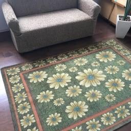 約140×200cm(イタリア製ジャガード織ラグ マーガレット) (イ)グリーン