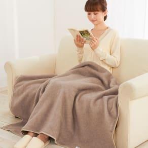洗える 無染色ブラウンカシミヤ毛布(毛羽部) ハーフケット 写真