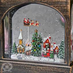 スクエアランタン型スノードームクリスマスの夜 ライト無点灯時