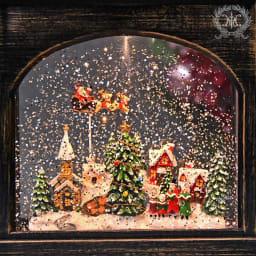 スクエアランタン型スノードームクリスマスの夜 ライト点灯時