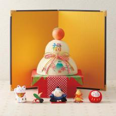 〈京都龍虎〉ちりめん五福 ちぎり和紙鏡餅