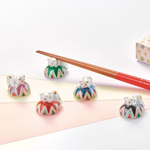 五色まり猫箸置きセット 写真