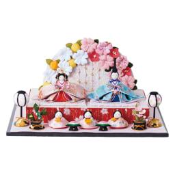 〈京都龍虎〉ちりめん舞桜雛飾り ※飾り方は京都飾りになっています。