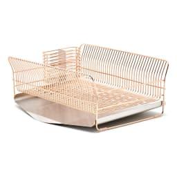 hanauta ハナウタ 皿を縦にも横にも置ける水切り ワイド ピンクゴールド (イ)たて置き 本体はピンクゴールドでトレーはステンレスカラーです。