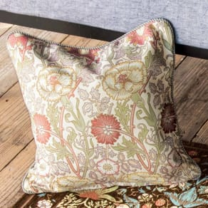 モリス ジャカード織 クッションカバー 〈 ピンク&ローズ 〉45×45cm用 写真
