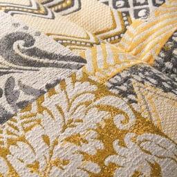 スペイン製シートクッション (イ)マスタードイエロー ジャカード織で細やかな模様を表現。
