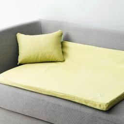 エネタンパーソナルピロー付きくつろぎマット ソファーに置いてクッションとしても使えます