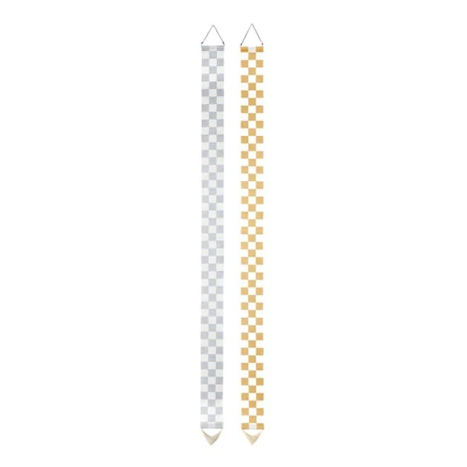 〈京都洛柿庵〉縁起飾り細タペストリー 市松 左から(イ)シルバー (ア)ゴールド