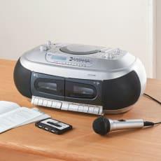 テープ再生速度が変えられる CDダブルカセットデッキ