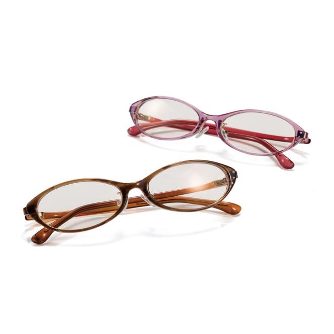オールタイムサングラス CUTE 上から(イ)ピンク (ア)ブラウン 小粋な印象でかけられます。