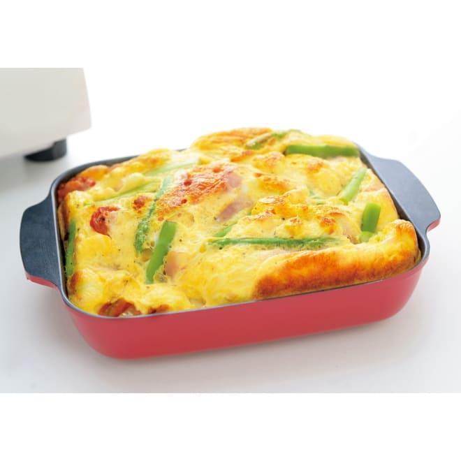 トースターや魚焼きグリルで簡単調理! オーブンパン GRILLE/グリエ トースターでふんわりオムレツが簡単に♪ (イ)レッド