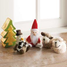 【在庫限りの特別価格】フェルトのモコモコクリスマス飾りセット(5個セット)