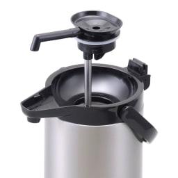 レバー式ステンレスエアーポット 吐出口が取り外せて洗える中栓タイプ。