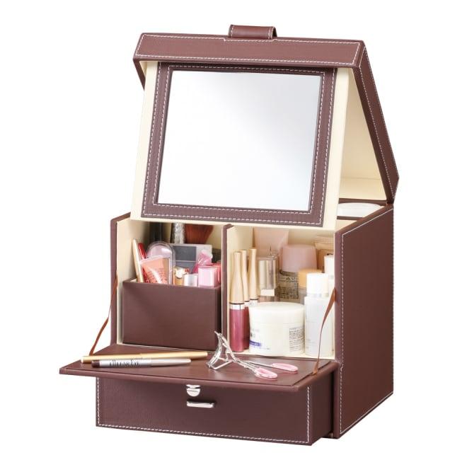 レザー調メイクボックス 取り外せる小物収納ボックス。 ※中身は商品に含まれません。
