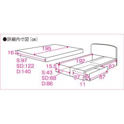 フランスベッド BOX引き出し付ベッド マルチラススプリングマットレス(レギュラーマット)付き 詳細内寸図