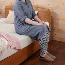 フランスベッド BOX引き出し付きベッド 羊毛綿入りマルチラススプリングマットレス付き 1段引き出しなので、立ち座りもしやすくご安心してご使用いただけます。