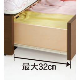 フランスベッド BOX引き出し付きベッド 羊毛綿入りマルチラススプリングマットレス付き スムーズな開閉のスライドレール付き。ホコリの侵入を防ぐBOXタイプ。