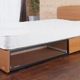 フランスベッド BOX引き出し付きベッド 羊毛綿入りマルチラススプリングマットレス付き 引き出しの入っているBOX部は地板も奥板もあり、引き出し内に埃が入りにくいしっかりとした構造です。