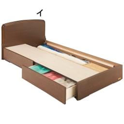 フランスベッド BOX引き出し付きベッド 羊毛綿入りマルチラススプリングマットレス付き 床板取り外し時 ※写真はシングルタイプです。