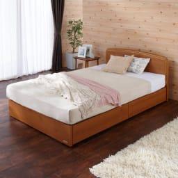 フランスベッド BOX引き出し付きベッド 羊毛綿入りマルチラススプリングマットレス付き (ア)ライトブラウン 写真はセミダブルです。引き出し閉じ時
