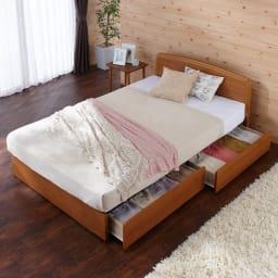 フランスベッド BOX引き出し付きベッド 羊毛綿入りマルチラススプリングマットレス付き (ア)ライトブラウン 写真はセミダブルです。