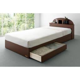 フランスベッド 棚・照明付ベッド マルチラススーパースプリングマットレス付き 落ち着いたデザインは、カーペットでもフローリングでもインテリアの雰囲気を選ばず調和します。 (イ)ブラウン ※写真はシングルです。