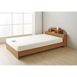 フランスベッド 棚・照明付ベッド マルチラススーパースプリングマットレス付き (イ)ナチュラル ※写真はセミダブルです。