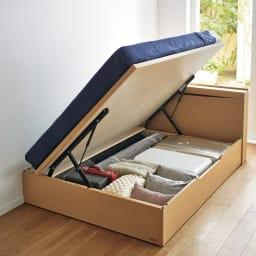 FranceBed(フランスベッド) 棚照明付き跳ね上げベッド 横開きタイプ 組み立て時に左右どちら開きにも設定可能。横開きは壁付けに設置してもマットレスが壁にぶつからずに床板を開閉できます。