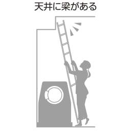 防水パンにおさまる。省スペース洗濯機ラック 標準タイプ・棚2段バスケット2個・カーテン付き 【洗濯機まわりのお悩み】…天井に梁がある洗濯機置き場でも設置できます。