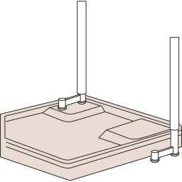 洗濯機パンに収まる 段差対応ランドリーラック 棚2段・バスケット2個 [POINT2:またげる] 片サイドのみ洗濯機パンをまたぐなど、段差があっても設置可能。最大で15cmの高さ調節ができます。