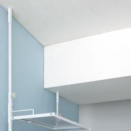 Ventol(ヴェントル) ランドリーラック 棚3段 梁があっても安定して設置できる左右独立の突っ張り式。