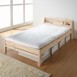 国産無塗装ひのきすのこベッドフレーム(すのこ板4分割) ≪床面高さ36cm時≫ 床面はすのこ板仕様なので、敷布団をのせても通気性が良く快適です。 ※写真はセミダブルサイズです。