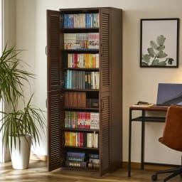 省スペースで快適なルーバー扉シューズボックス(幅60、高さ180cm) 書棚としても活躍します。(棚板1枚あたりの耐荷重は約5キロです。耐荷重を守ってご使用ください)