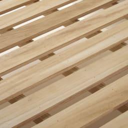LED照明・棚付きすのこベッド フレームのみ 寝ている間の湿気が気になるという方のために、すのこ板(床板)には桐天然木を使用しています。