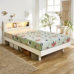 LED照明・棚付きすのこベッド フレームのみ (ア)ホワイト ※お届けはフレームのみです。 シンプルで使いやすく、あなたのコーディネイトで寝室をお好みのインテリアに。