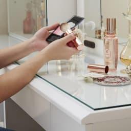 LEDライト付き 楽屋ドレッサーシリーズ ドレッサー 幅78.5cm 化粧品の粉の飛び散りもサッときれいになります。