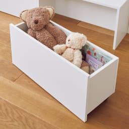 デスクにもなる収納ワゴン 幅76cm 散らかるおもちゃもたっぷり収納できるワゴン。
