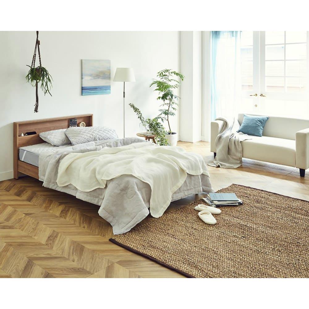 【セミダブル】フランスベッド LED照明コンセントマットレス付ベッドのコーディネート