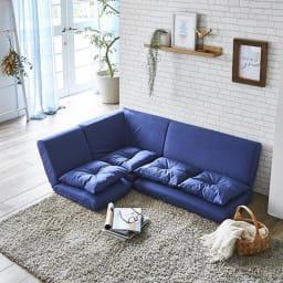コーナーリクライニングソファ 3点セット 北欧デザインのフロアソファは部屋を広々と感じさせます。
