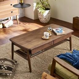 棚付き天然木テーブル (イ)ダークブラウン色