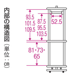 耐荷重50kg ダブル掛け回転ハンガーラック 洗えるカバー付き 内部の構造図(単位:cm)