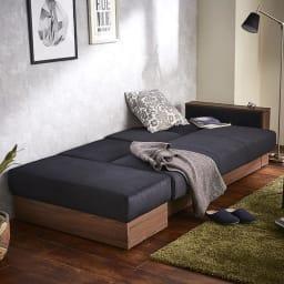 Katevasoh/カテバソー 収納付きマルチソファベッド ベッド使用時イメージ 肘側に頭がくる様にご使用下さい。