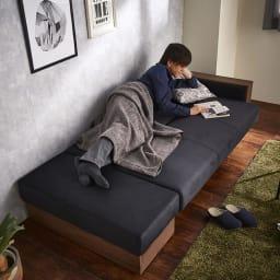 Katevasoh/カテバソー 収納付きマルチソファベッド ベッド使用時 (モデル伸長175cm)